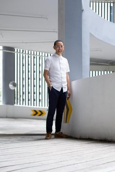 SHENTONISTA: A Different Cut. Quester, Senior Training Manager. Top from Uniqlo, Pants from H&M, Watch from Seiko, Shoes from Adidas, Glasses from Swissflex. #shentonista #theuniform #singapore #fashion #streetystyle #style #ootd #sgootd #ootdsg #wiwt #popular #people #male #female #womenswear #menswear #sgstyle #cbd #WeNeedAHero #SpaEsprit #Uniqlo #HM #Seiko #Adidas #Swissflex