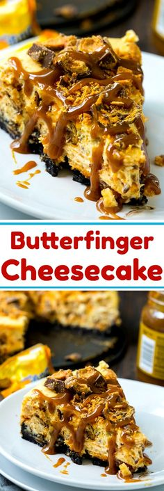 Butterfinger Cheesecake Butterfinger Cheesecake is a rich and creamy cheesecake with an oreo crust and lots and lots of crushed Butterfinger candies both in the filling and on top. To make it even more delicious, drizzle some Butterscotch sauce over it. Köstliche Desserts, Delicious Desserts, Dessert Recipes, Yummy Food, Cupcakes, Cupcake Cakes, Cheesecakes, Butterfinger Cheesecake, Brownies