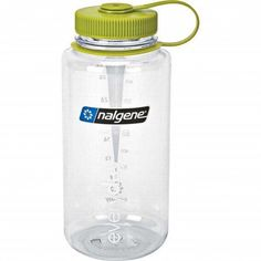 Nalgene Tritan Wide Mouth 32oz Bottle - Clear w/ Green Lid; Clear bottle for SODIS (solar disinfection technique) as Passive Solar Water Treatment; Eastman Tritan co-polyester is BPA Free; Dishwasher safe (top rack only), make sure the cap does not touch the heating element; Everyday bottles have superior impact resistance & are suitable for both warm & cold beverages; Convenient loop-top design means you'll never lose the lid; Marked with mls & ozs for easy measurement; Made in USA; ±$11.00