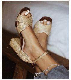 woven heels & white
