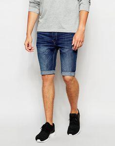 Shorts von Kubban Baumwoll-Denim verdeckter Hosenschlitz Fünf-Taschen-Stil supereng - nah am Körper geschnitten Maschinenwäsche 100% Baumwolle Model trägt 32 Zoll/81 cm Normalgröße und ist 185,5 cm/6 Fuß 1 Zoll groß
