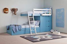 Łóżko piętrowe, kolorowe łóżko, meble do pokoju dziecięcego, pokój dla dziecka, meble dziecięce. Zobacz więcej na: https://www.homify.pl/katalogi-inspiracji/19591/jak-urzadzic-pokoj-dla-rodzenstwa-6-interesujacych-propozycji