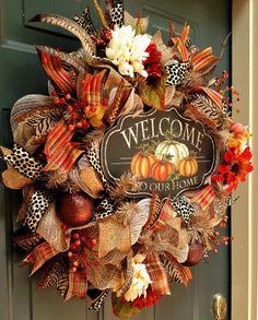 Welcome Fall Wreath Burlap Wreath Deco Mesh Wreath Autumn