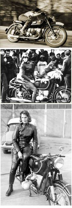 """Marianne Weber, a Journalist from Belgium, tested the R68 for the French magazine """"MOTORCYCLE"""" (issue 81/August 18, 1952) and achieved a top speed of more than 160 km/h and gave the proof that the R68 was a real 100-mph racing-bike. The photos were made by """"R.G. Everts"""" in April 1952. Marianne Weber later achieved 162.895 km/h (101.24 mph) in 1954"""