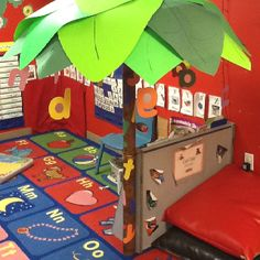 Chicka Chicka Boom Boom tree in my 3 year old classroom. Great for early visual introduction to letter recognition
