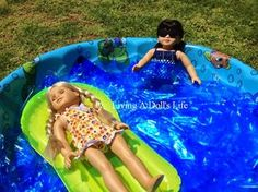 Living A Doll's Life : *Camp* Julie & Ivy Go Swimming + Pool Tutorial American Girl Storage, American Girl Crafts, American Girl Beds, American Girl Parties, Girls Dollhouse, Barbie Diorama, America Girl, Doll Party, Girl Dolls
