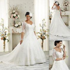 Half Sleeves Plus Size Wedding Dresses 2016 A-line White Tulle Appliques Lace Bandage Bridal Gowns Elegant Maxi Dress For Big Size Brides