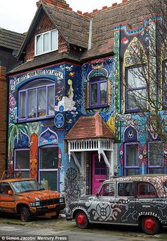 The house, in Chiswick, West London, has been completely transformed by its artist owner Carrie Reichardt, who has covered her five-bedroom home in one million tiny colourful tiles. Transition Town, West London, Guerrilla, Craft Activities, Hearth, Art Tutorials, Carrie, Artsy Fartsy, Graffiti