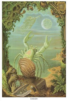 wtxch: Cancer (from the Zodiac Series) 75 Johfra. Astrology Planets, Astrology Zodiac, Art And Illustration, Tarot, The Doors Of Perception, Roman Gods, Esoteric Art, Stick Figures, Fantasy Landscape