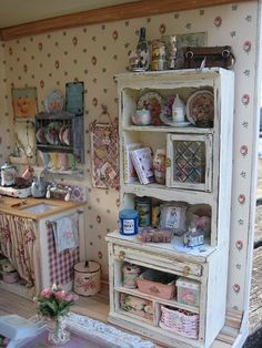 Kitchen in the Shabby Dollhouse by Liberty Biberty http://libertybiberty.blogspot.com/2010/05/downstairs-in-shabby-house.html