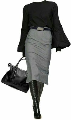 Pencil skirt, black boot heels