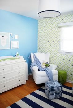 Bright, modern, preppy nursery for baby boy - we love the fab wallpaper accent wall!
