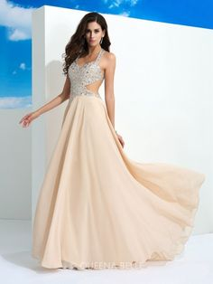 A-Line/Princess Straps Beading Sleeveless Sweep/Brush Train Chiffon Dresses