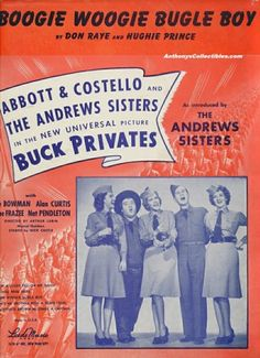Sheet Music from Buck Privates movie with Abbott and Costello with The Andrew Sisters. Old Sheet Music, Song Sheet, Vintage Sheet Music, Music Covers, Album Covers, Comedy Duos, Abbott And Costello, Sister Pictures, Boogie Woogie