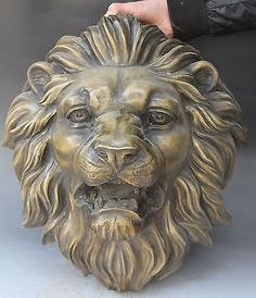 11 Chinese FengShui Folk Bronze Lion Leo Head Mask Animal Statue Sculpture