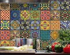Set of 24 tile stickers Mexican Talavera style stickers mixed for walls Kitchen…