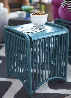 Unique Blue Furniture For Fall Color : Blue Lattice Side Table Furniture  For Living Room With
