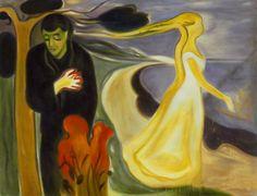 """Edvard Munch, """"Separazione"""" (1896) Olio su tela. Un'opera che non conoscevo del pittore norvegese ma che ben rappresenta le tematiche simboliste, in particolare quella mano sul cuore che pare prendere fuoco. Accentuata anche la linea continua tipica dell'Art Noveau che influenzò l'artista."""