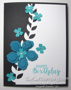 handmade birthday card ... die cut Botanical Blooms ...  black and white with teals ... Stampin' Up!