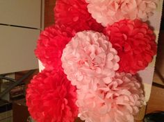 Coral and Pink Pompoms for my bestfriend's bridal shower.