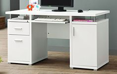 This white computer desk combines a sleek, contemporary look with practical storage for your home office. It features two storage drawers in one pedestal, one cabinet with two shelves inside in the other pedestal, and a keyboard tray. The desk's floating tabletop is held up by silver... more details available at https://furniture.bestselleroutlets.com/home-office-furniture/home-office-desks/product-review-for-coaster-home-furnishings-modern-contemporary-2-drawer-1-cabine