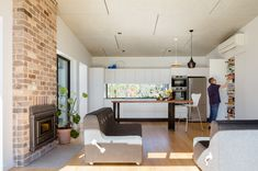 Granny flat design: A chic new build in outer Sydney - The Interiors Addict Steel Cladding, Kitchen Island Bench, Recycled Brick, Studios Architecture, Modern Architecture, Passive Design, Compact House, Granny Flat, Home Safes