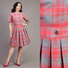 vtg PLAID striped SECRETARY tartan rockabilly pinup pleated midi dress 50s XS/S