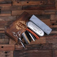 A Personalized Straight Razor Blade, Wood Comb, Scissors & Sharpening Stones