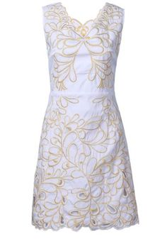 White Sleeveless V-neck Floral Embroidery Short Dress