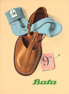 """Bata 9.90"" Poster by Birkhauser, Peter (1944) #batashoes #poster #vintage"