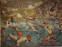 Jan Cornelisz Vermeyen (1500-1559): Emperor Karl V's war against Chaireddin (also known as Hayreddin Barbarossa, Grand Admiral of the Ottoman Navy), Turkish governor of Tunis. Battle on the march to Tunis between Turks and imperial arquebusiers.Cartoons for 12 tapestries,charcoal and watercolour on paper,385 x 662 cm. Kunsthistorisches Museum, Gemaeldegalerie, Vienna, Austria, Inv.2044 - Detail