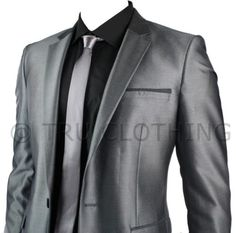 Mens-Slim-Fit-Shiny-Silver-Grey-Suit-Blazer-Trouser-Smart-Office-Prom-Wedding-P