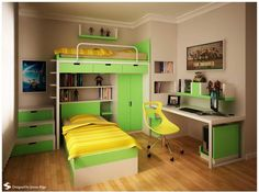 Фото детской комнаты в зеленых тонах
