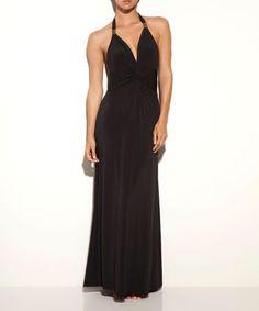 Look at this #zulilyfind! Black Cinched Halter Maxi Dress #zulilyfinds