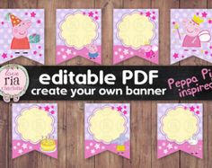 Printable Peppa pig inspired instant download editable pdf banner, digital…