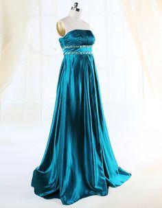 Strapless Satin Beading Teal Floor Length Evening Dress   OKmarket.com