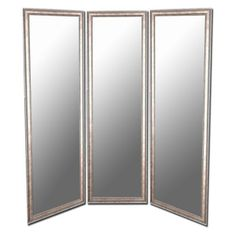 Soft Gold and Silver Full Length Free Standing Tri-Fold Mirror - 66W x 70H in.