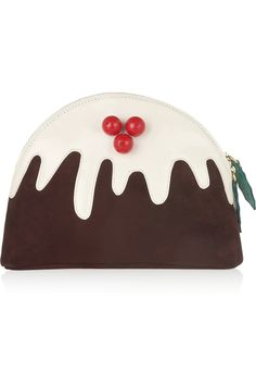 Charlotte Olympia | Christmas Pudding suede and patent-leather clutch Wouahou, je veux le même en Mons cher!!!