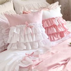 White Pink Ruffle Cushion Cover is perfect for your Shabby Chic Bedroom Shabby Chic Pillows, Shabby Chic Bedrooms, Diy Pillows, Shabby Chic Decor, Decorative Pillows, Cushions, Shabby Shop, Ruffle Curtains, Ruffle Pillow