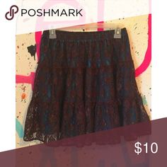 skirt brown lace and blue under it in very good condition // runs big  // 100% nylon // 48 days until donating; make an offer Pink Cattlelac Skirts Mini