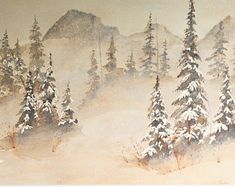 art fine art painting watercolor painting original watercolor painting winter landscape painting snow scene snowy painting winter scene