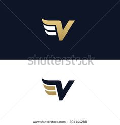 Letter V logo template. Wings design element vector illustration. Corporate branding identity
