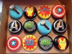 Thor, iron man, hulk, avengers and captain america superhero Marvel Cupcakes, Avenger Cupcakes, Marvel Cake, Avenger Cake, Hulk Cupcakes, Iron Man Cupcakes, Avengers Birthday Cakes, Superhero Birthday Party, 4th Birthday Parties