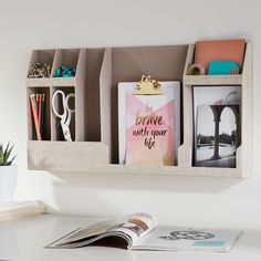 Storing your stuff and getting ready is so much more fun when you have everything organized and in its place. This organizer hangs easily on your wall thanks to removable adhesive strips and has plenty of room for all your essentials. Teen Bedroom Organization, Wall Organization, Wall Storage, Makeup Organization, Wall Shelf Decor, Wall Shelves, Dorm Room Accessories, Dorm Walls, Teen Girl Bedrooms