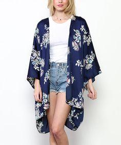 Look at this #zulilyfind! Navy Floral Kimono #zulilyfinds