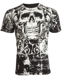 Find Affliction Archaic Mens T-Shirt KILLROY Skull Black Motorcycle Biker UFC online. Shop the latest collection of Affliction Archaic Mens T-Shirt KILLROY Skull Black Motorcycle Biker UFC from the popular stores - all in one Affliction Clothing, Mma Shirts, Cool Shirts, Shirt Print Design, Shirt Designs, Tee Shirt, Gothic Shirts, Geile T-shirts, High Fashion