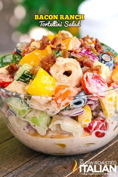 Bacon Ranch Pasta Salad is the ultimate summer side! It starts with copious amounts of bacon, a perfectly tangy ranch dressing, fresh vegetables and tortellini pasta. Bacon Ranch Pasta Salad, Pasta Salad With Tortellini, Tortellini Recipes, Summer Pasta Salad, Pasta Salad Recipes, Summer Salads, Summer Food, Bacon Pasta, The Slow Roasted Italian