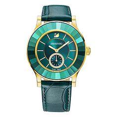 LOVE. Octea Classica Emerald Rose Gold Tone Watch from #Swarovski