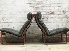 FRED LOWEN TESSA T8 leather lounge arm chairs VINTAGE retro