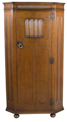 Antique Style Jacobean Hall Single Door Wardrobe Armoire Oak Linenfold Closet #Jacobean